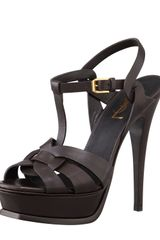 Saint Laurent Tribute High-Heel Leather Sandal In Chocolate - Lyst