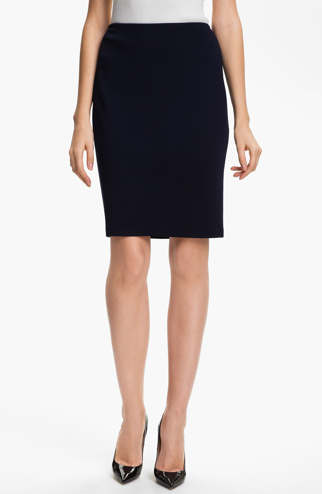 St. John Collection Milano Knit Pencil Skirt in Blue (navy ...