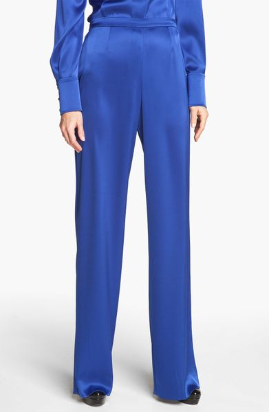 St. John Collection Kate Liquid Satin Pants in Blue (vivid blue)