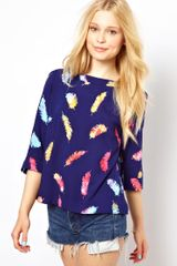 Sugarhill Smock Top in Feather Print