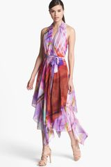 Suzi Chin For Maggy Boutique Layered Chiffon Print Halter Dress - Lyst