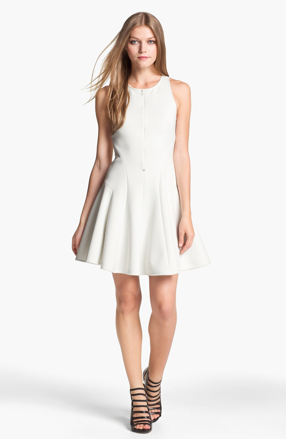 Theory Cella Fit Flare Dress in White