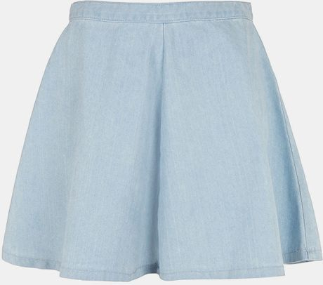 topshop moto acid wash denim skater skirt in blue light