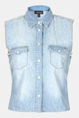 Topshop Moto Dillon Sleeveless Denim Shirt - Lyst