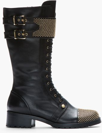 Versus  Black Leather Studded Combat Boots - Lyst