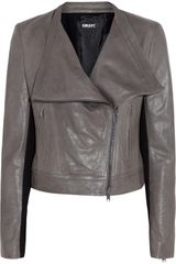 DKNY Pontepaneled Leather Jacket - Lyst