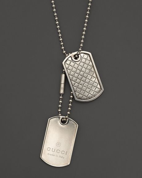 Gucci Sterling Silver Dogtag Necklace 235 in Silver for ...