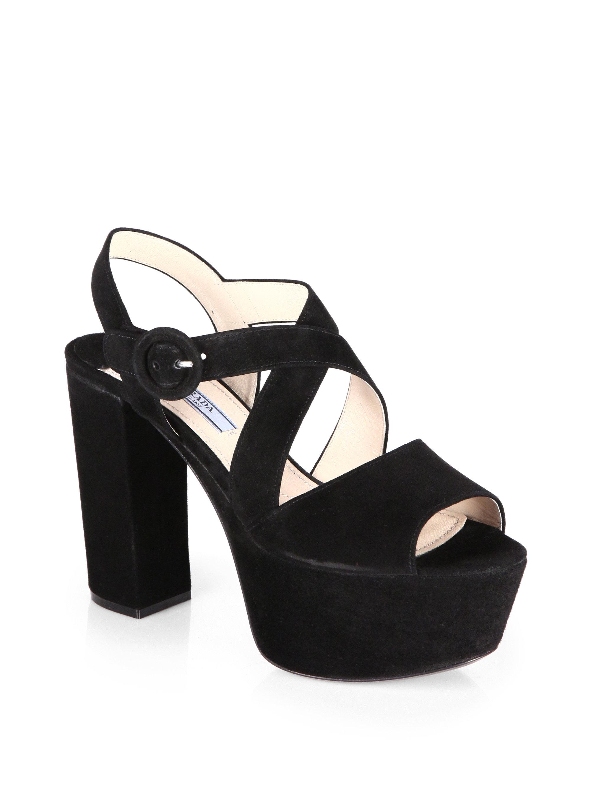 710dfbf5c466 Prada Suede Crisscross Platform Sandals in Black - Lyst