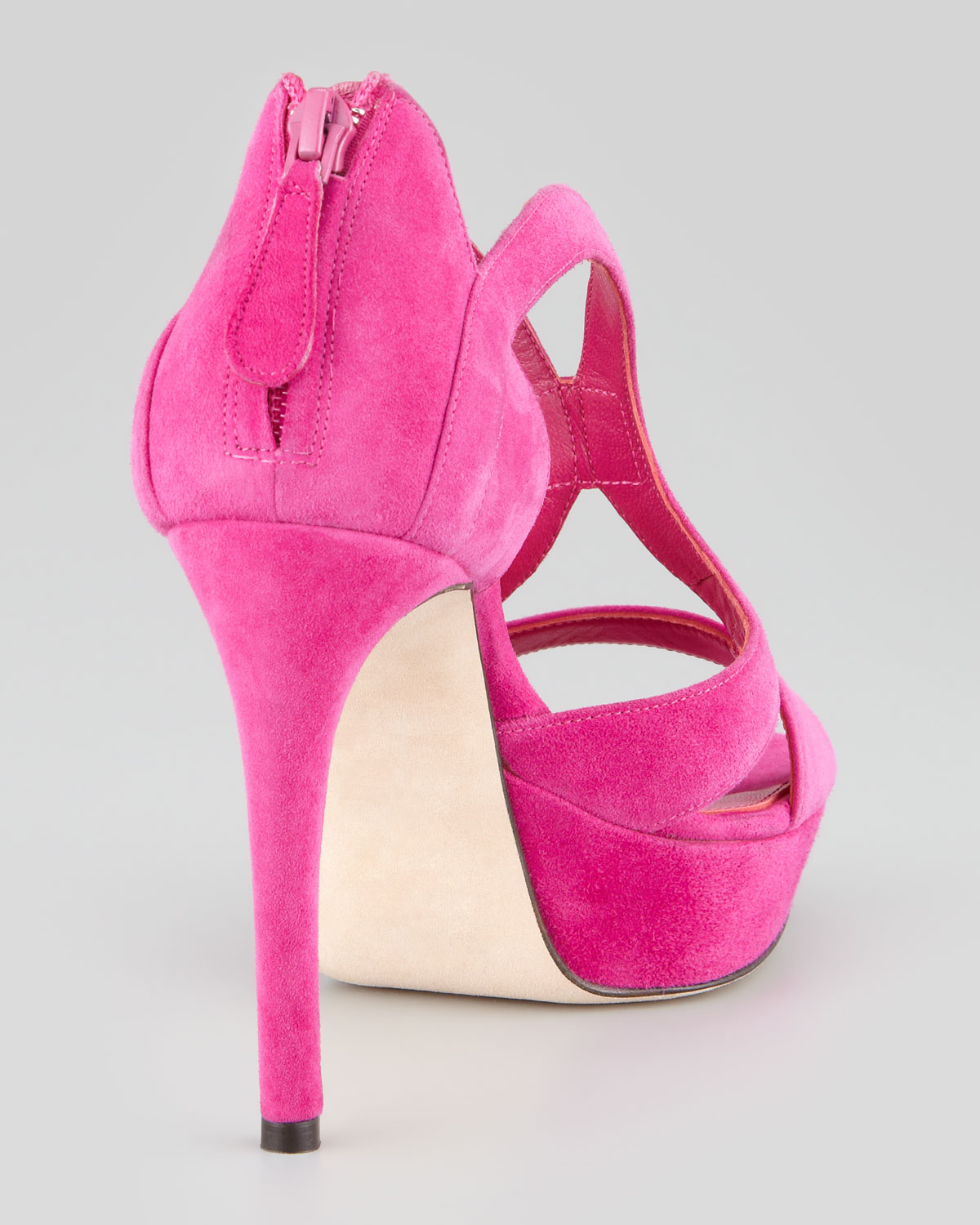 a85302014d9 Lyst - Alexander McQueen Armadillo Lowheel Doublearched Suede Sandal Pink  in Pink