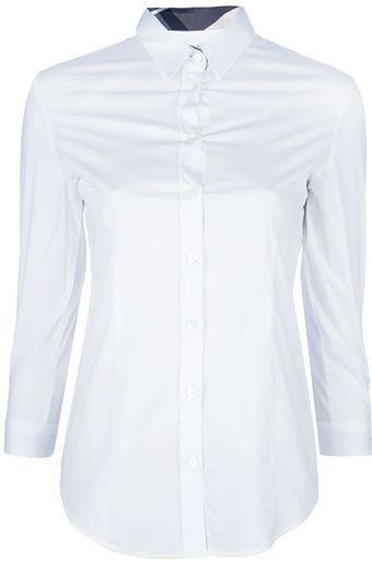 Burberry Cropped Sleeve Shirt - Lyst