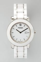 Fendi Round Ceramic Diamond Stainless Steel Watch - Lyst