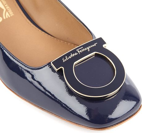 Ferragamo Patent Leather Court Shoes in Blue (navy) - Lyst