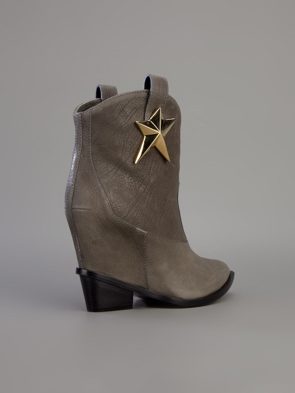 Lyst Giuseppe Zanotti Star Motif Cowboy Boot In Gray