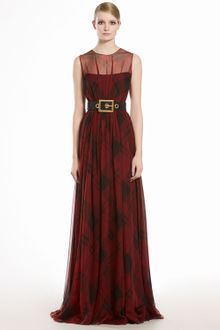 Gucci Check Printed Silk Chiffon Gown - Lyst