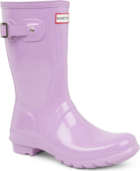 Hunter Original Gloss Short Wellies In Purple Lilac Lyst