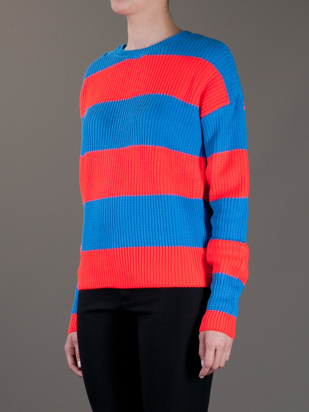Lacoste l!ive Bold Striped Sweater in Red | Lyst