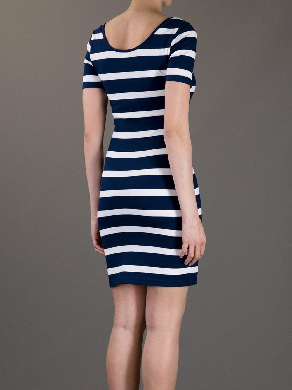 Lyst Lacoste L Ive Striped Bodycon Dress In Blue