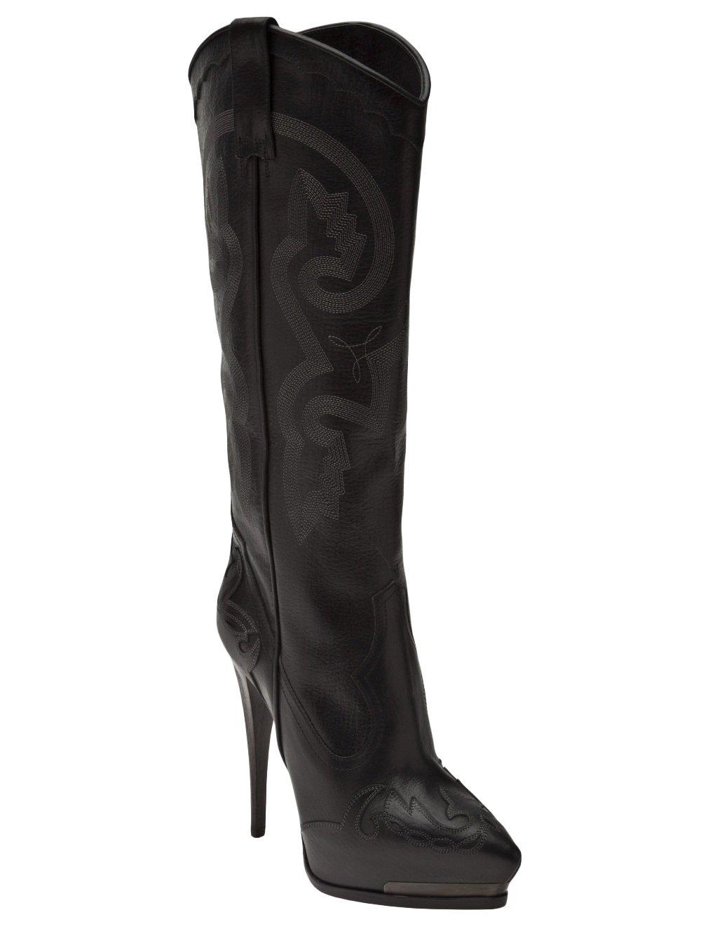 Lanvin Platform Cowboy Boots In Black Lyst