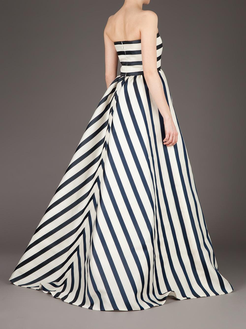 Oscar De La Renta Striped Evening Dress in White - Lyst