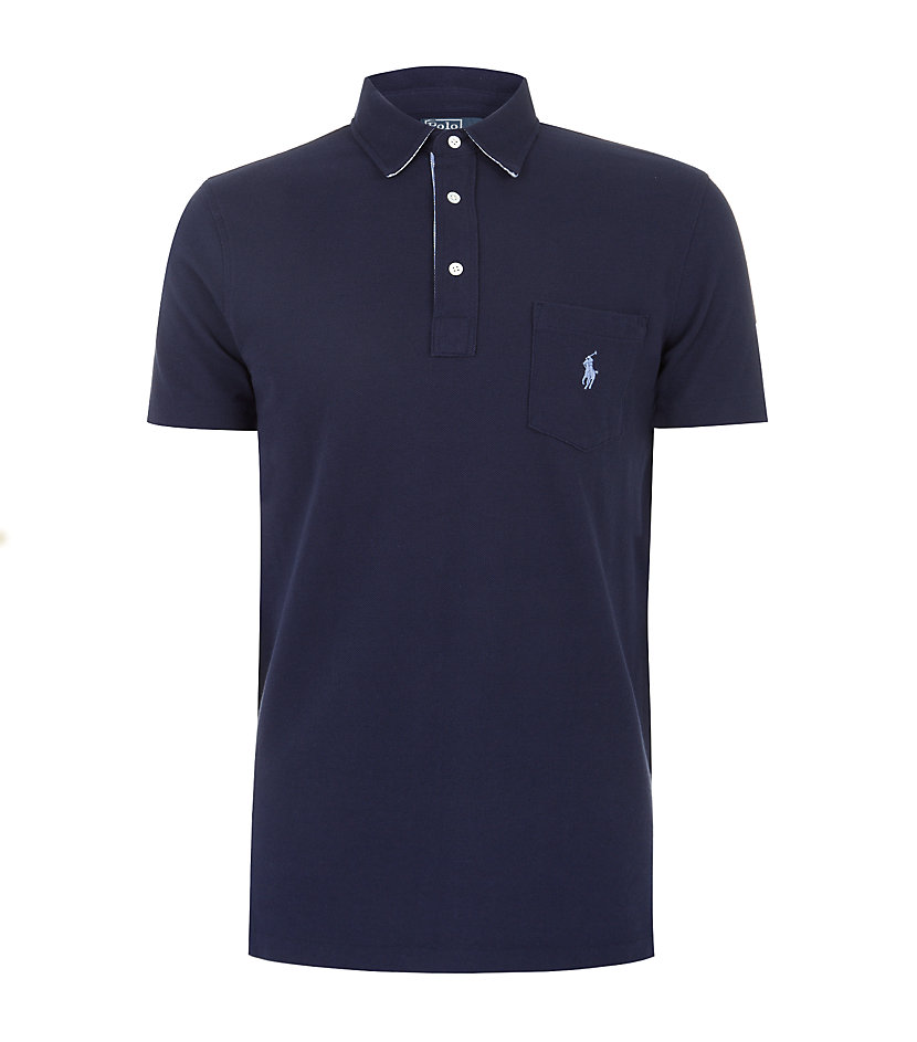 Polo ralph lauren custom fit pocket polo shirt in blue for for Polo t shirts with pocket online