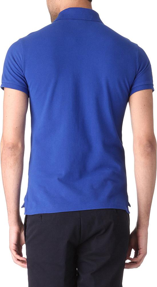 Ralph lauren slim fit yacht club polo shirt in blue for for Ralph lauren polo club shirts