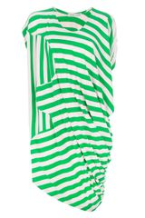 Tsumori Chisato Draped Asymmetric Striped Dress - Lyst