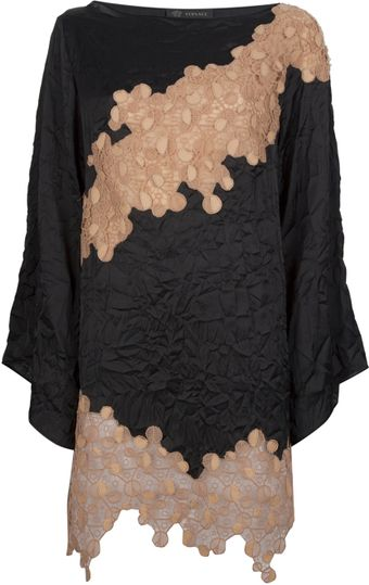 Versace Lace Long Sleeved Dress - Lyst
