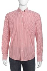 Vince Striped Seersucker Dress Shirt Fiesta Red - Lyst