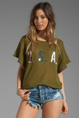 Wildfox Couture Team Usa Lake House Tee in Army - Lyst