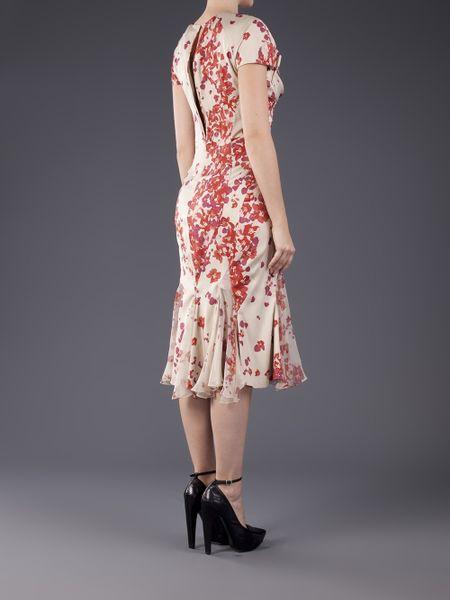 Zac Posen Printed Sweetheart Dress In Pink Hibiscus Lyst