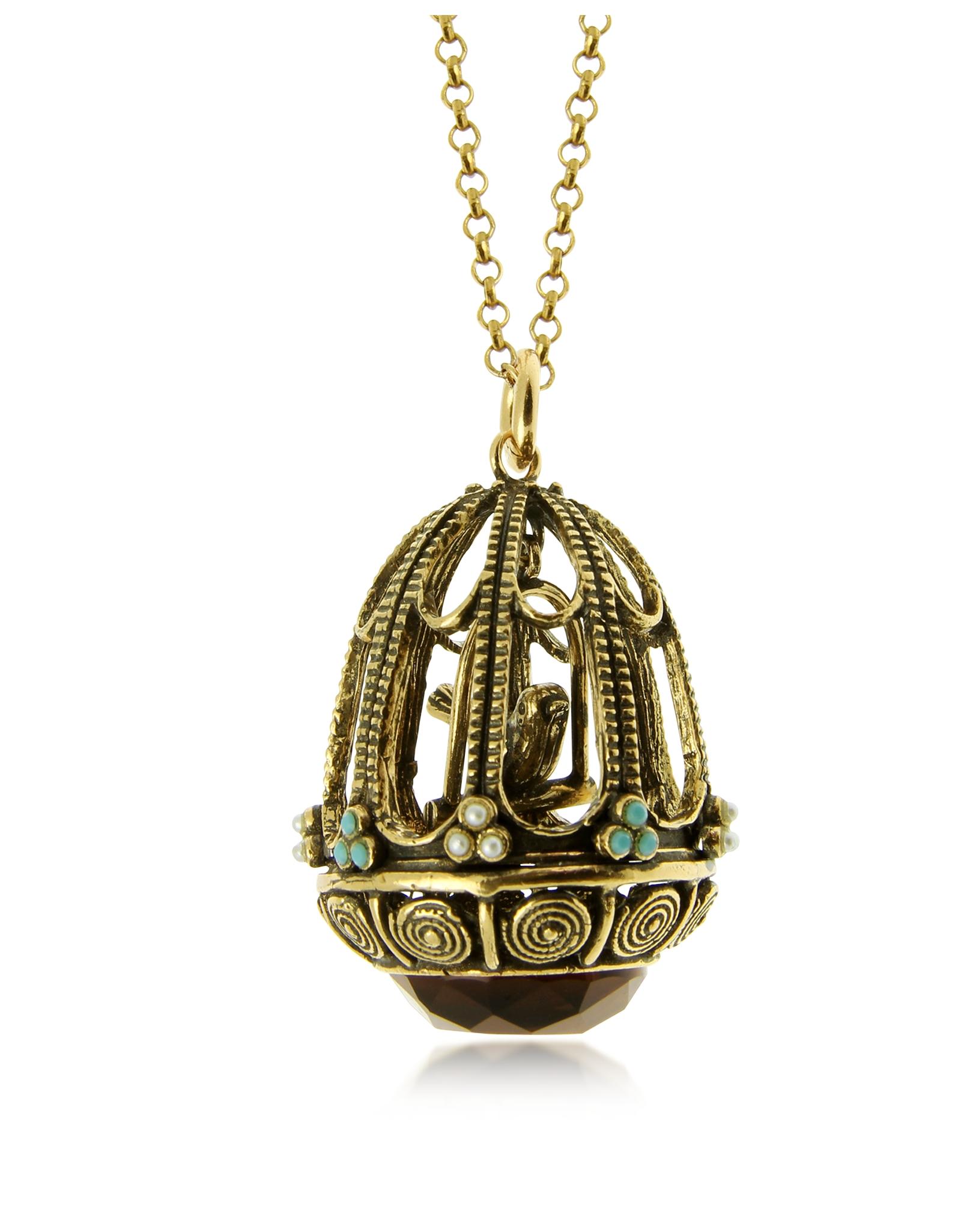 Alcozer Amp J Bird Cage Pendant Necklace In Metallic Lyst