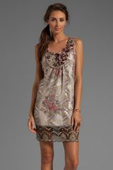 Anna Sui Tulip Bouquet Floral Jacquard Dress in Taupe - Lyst