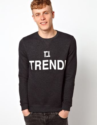 Asos Trendi Printed Crew Neck Sweat - Lyst