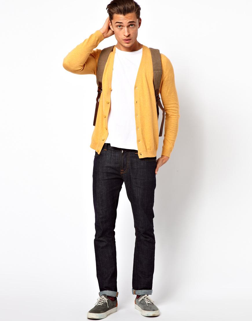 Lyst Asos Cardigan In Yellow For Men