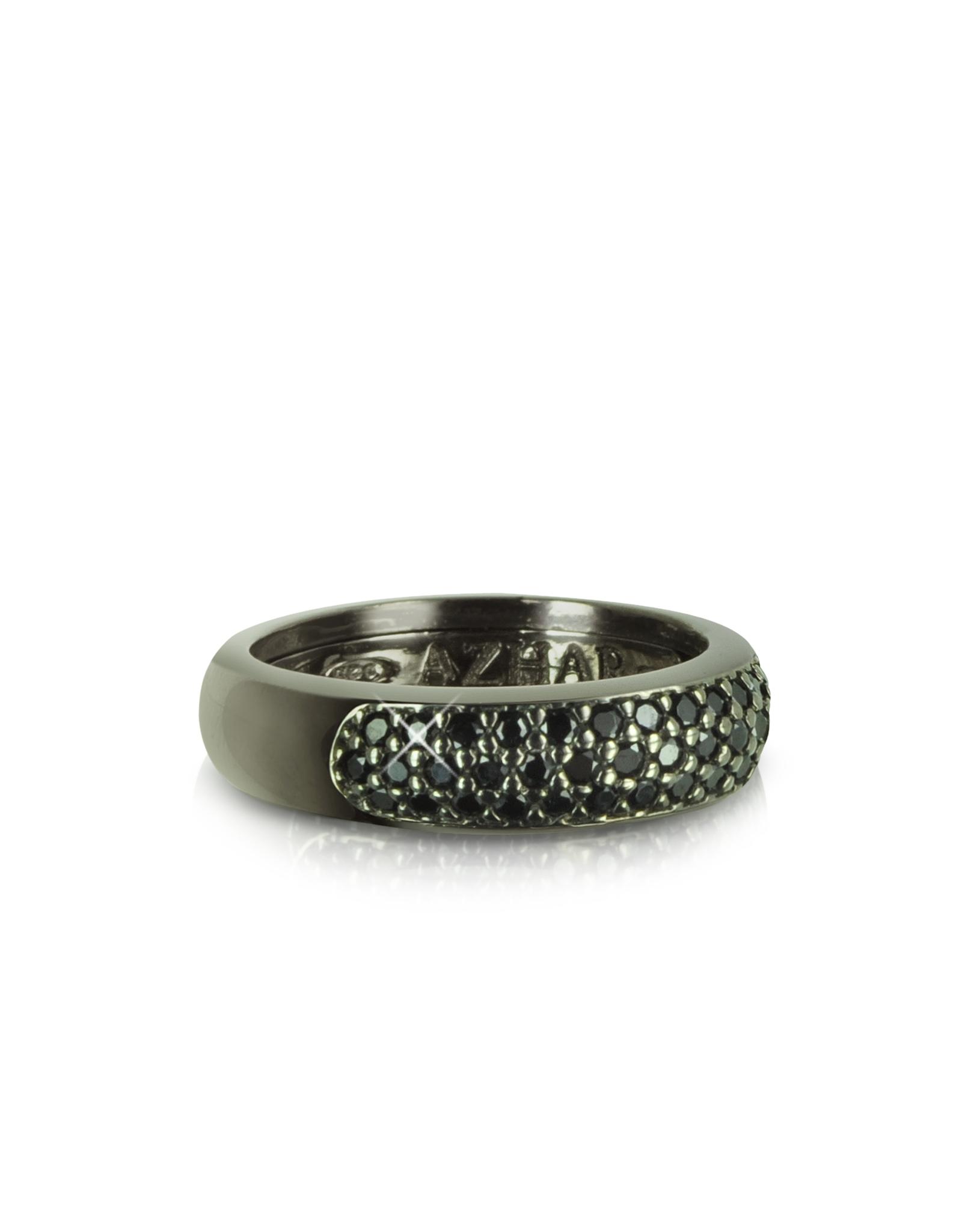 azhar black cubic zirconia sterling silver ring in black