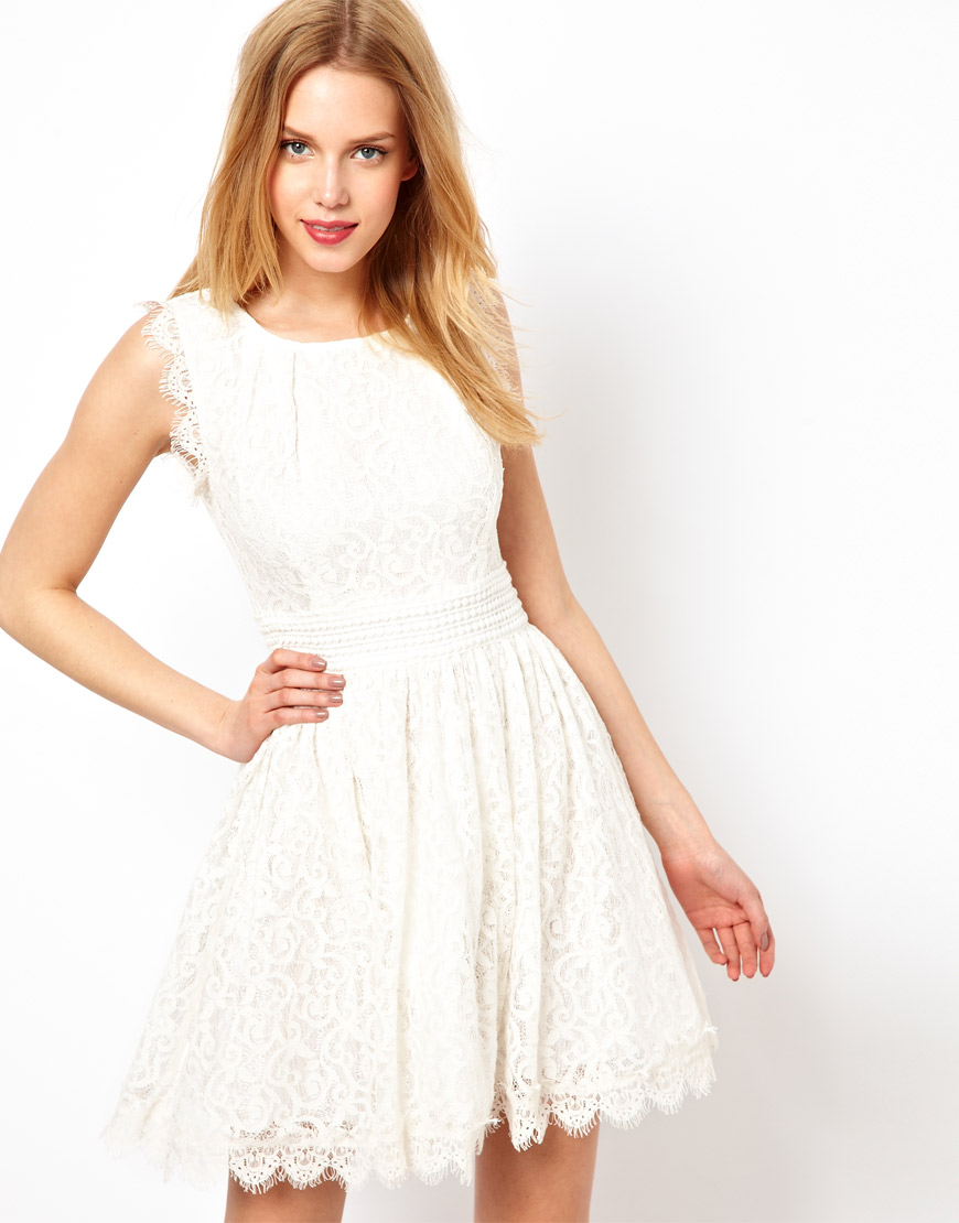 lyst darling lace skater dress in white. Black Bedroom Furniture Sets. Home Design Ideas