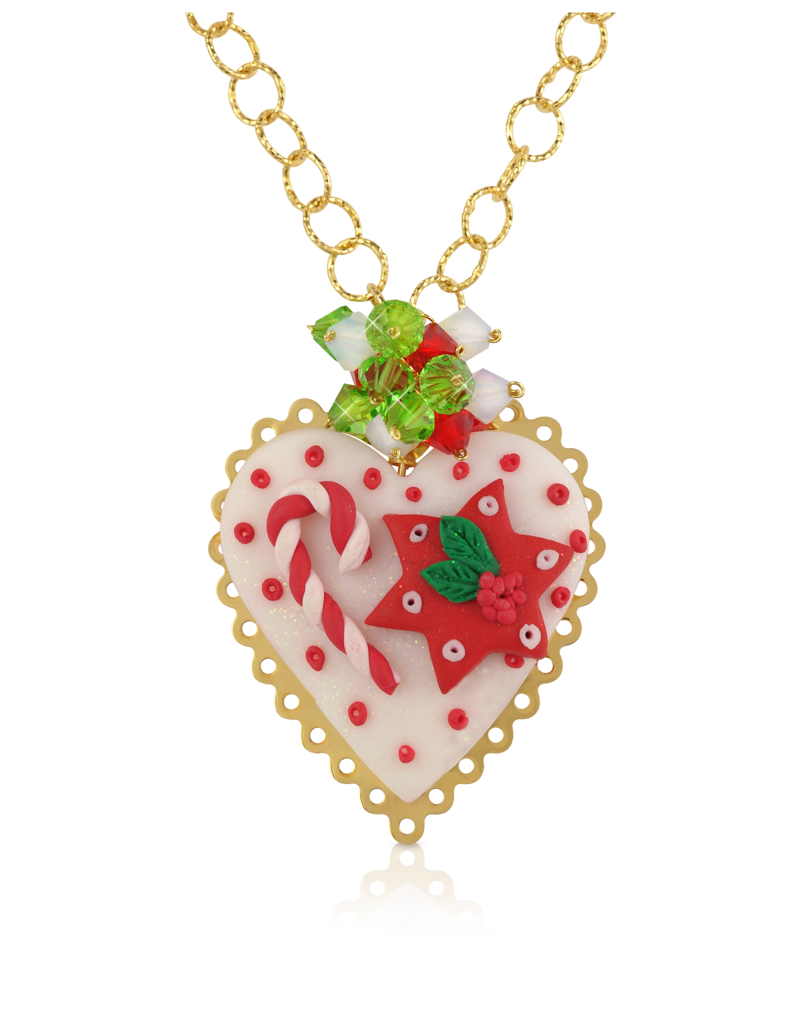 Dolci gioie Christmas Heart Necklace in White
