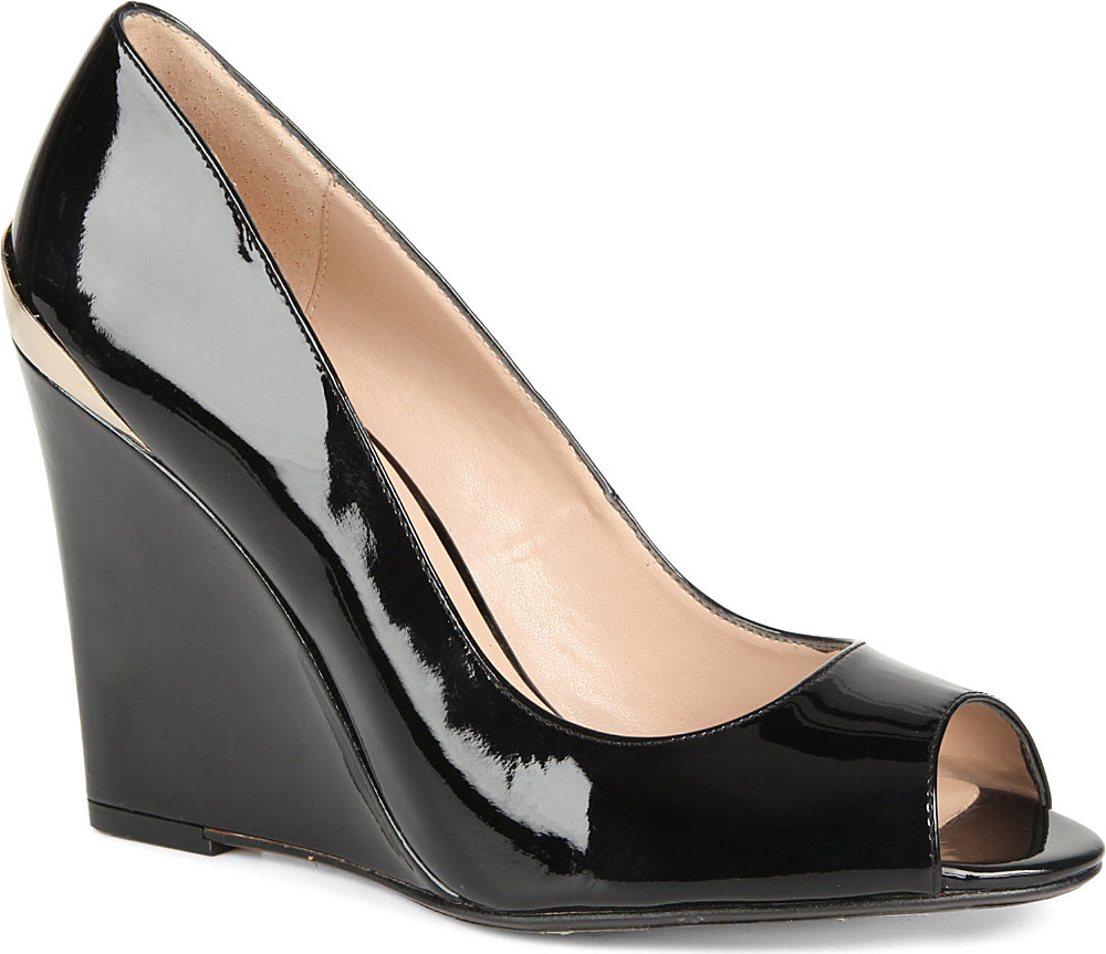 Dune Covert Patent Peeptoe Wedges In Black Black Patent