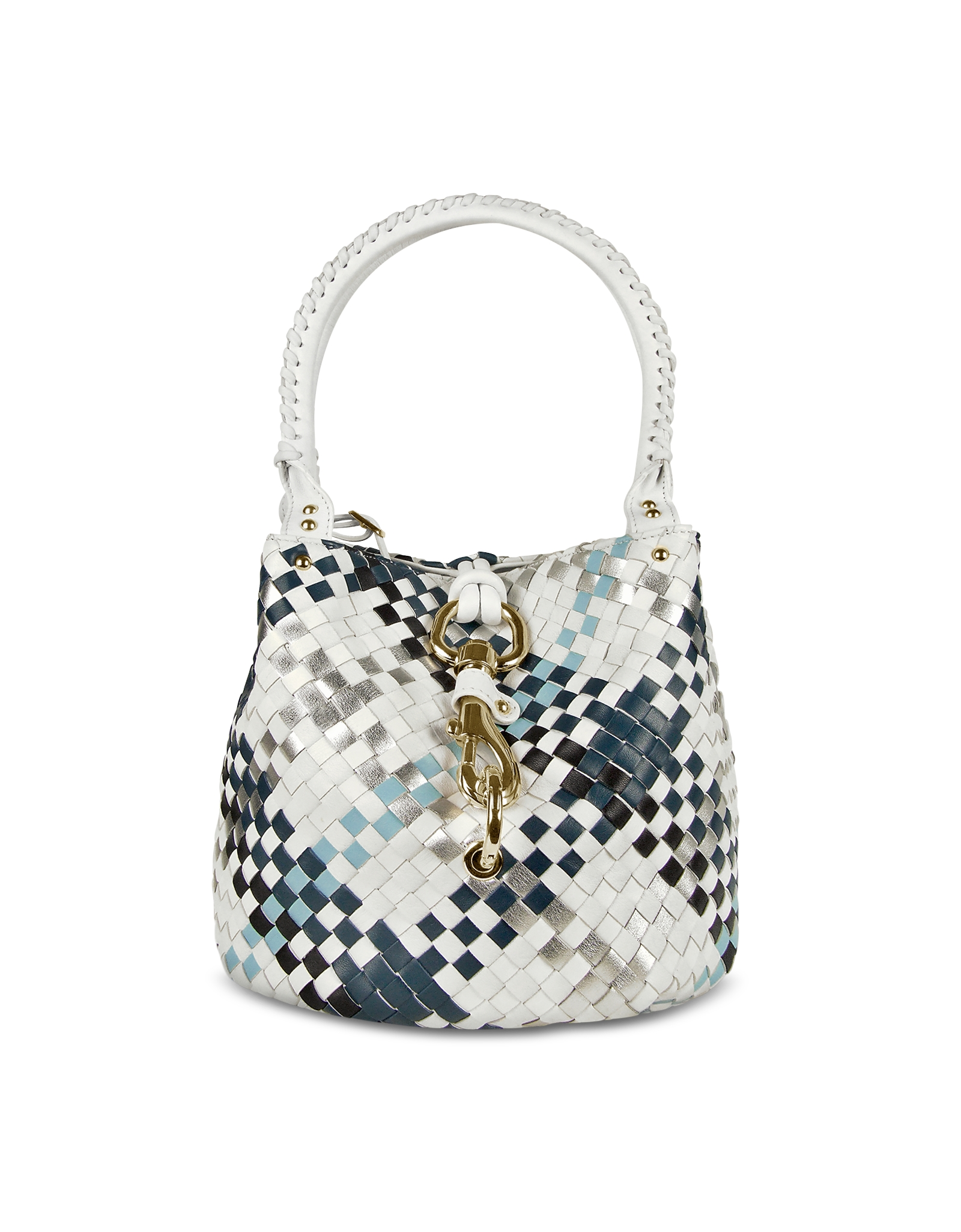 Fontanelli Blue Amp White Woven Leather Mini Bag In White Lyst