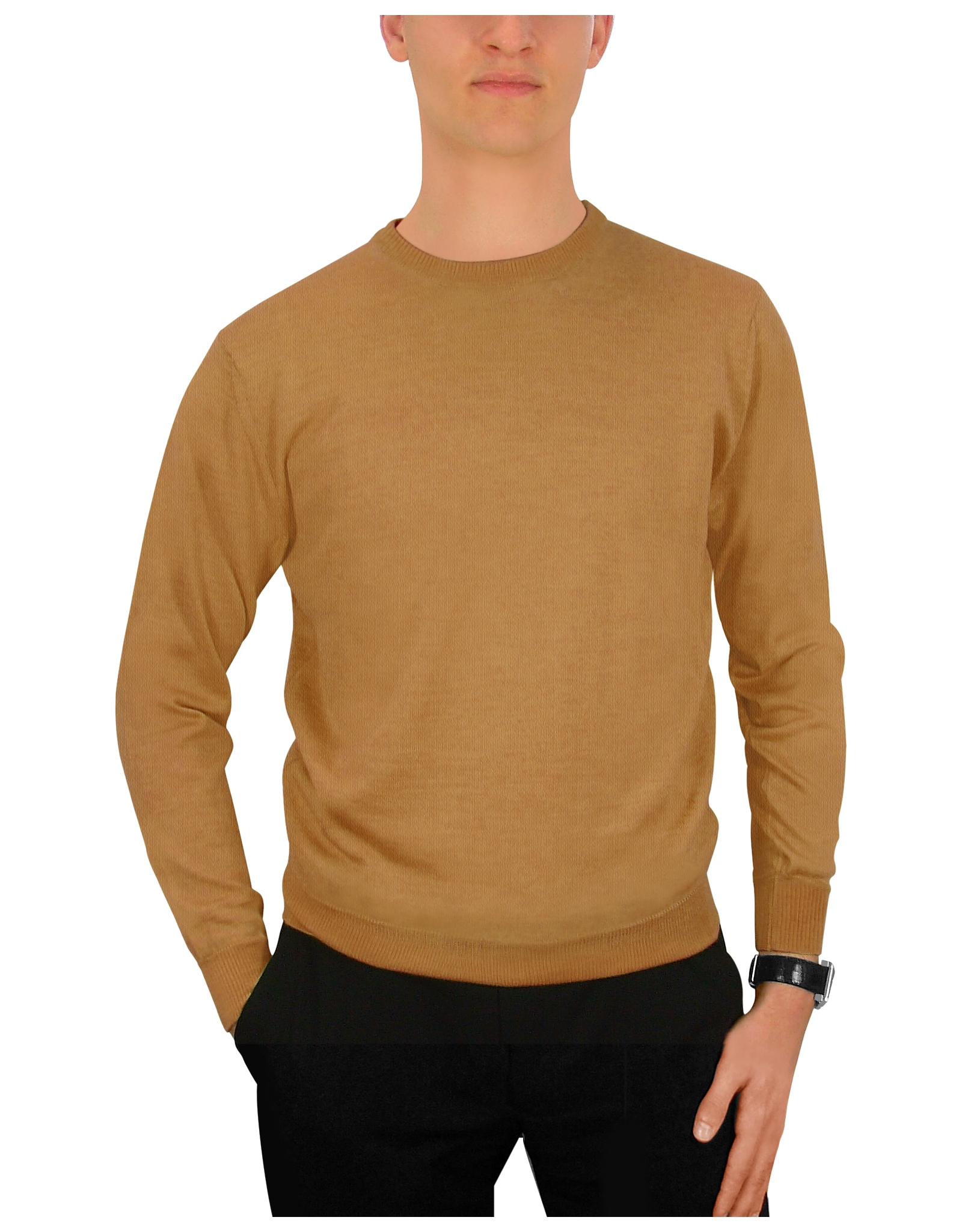 Forzieri Men'S Camel Cashmere Crewneck Sweater in Natural for Men ...