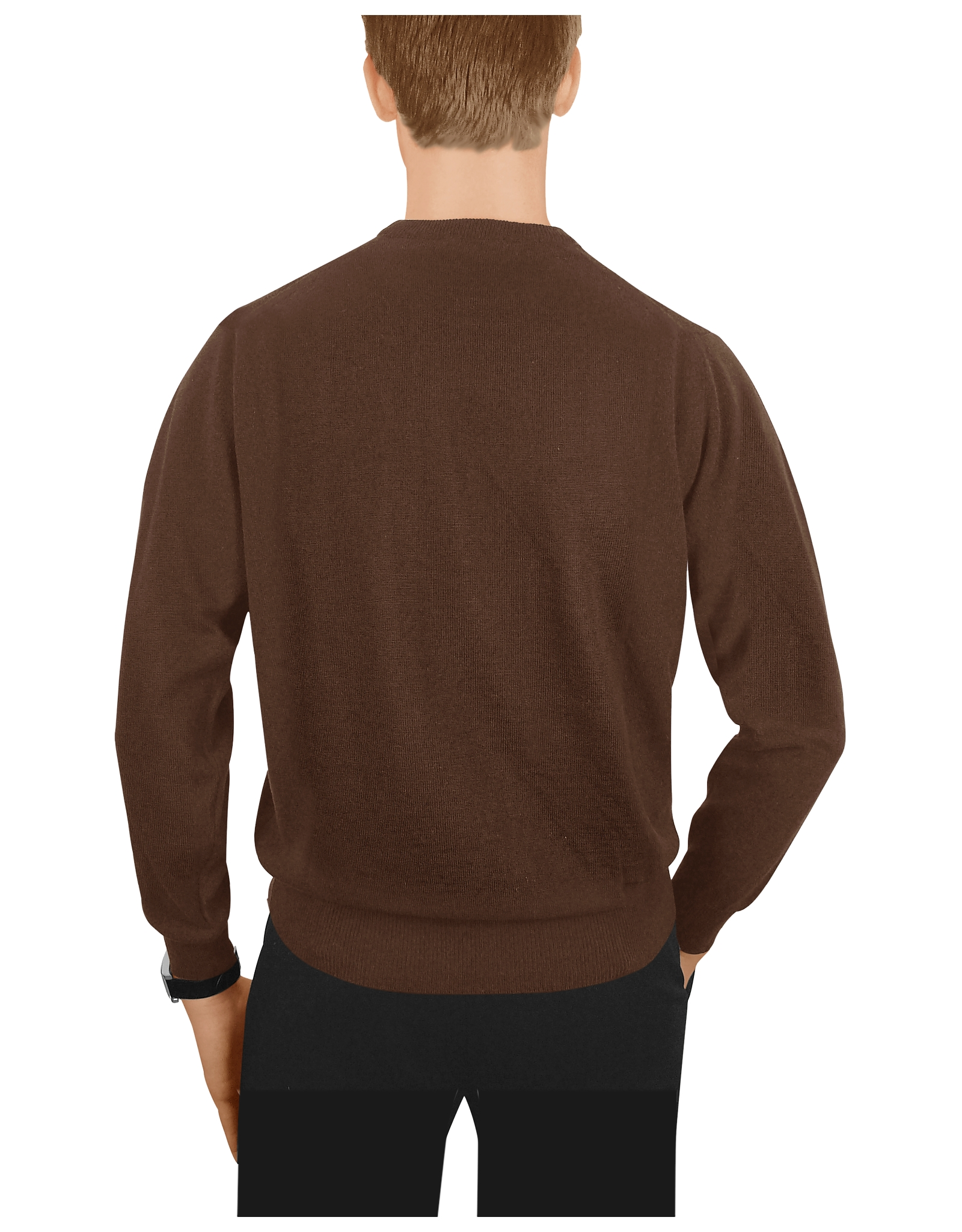 Forzieri Mens Dark Brown Wool Crewneck Sweater in Brown for Men | Lyst