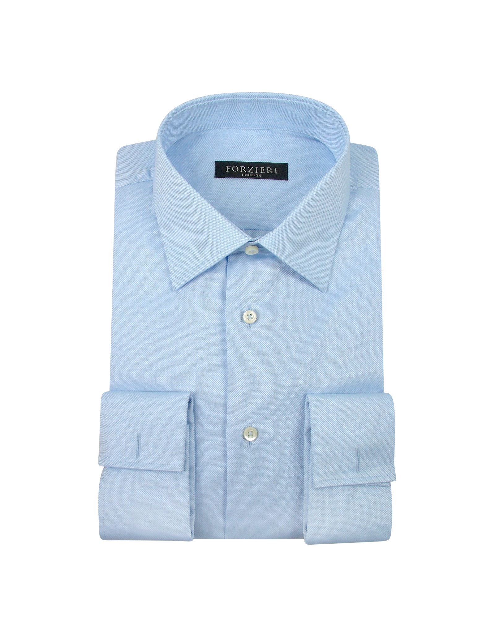 forzieri light blue french cuff cotton dress shirt for men