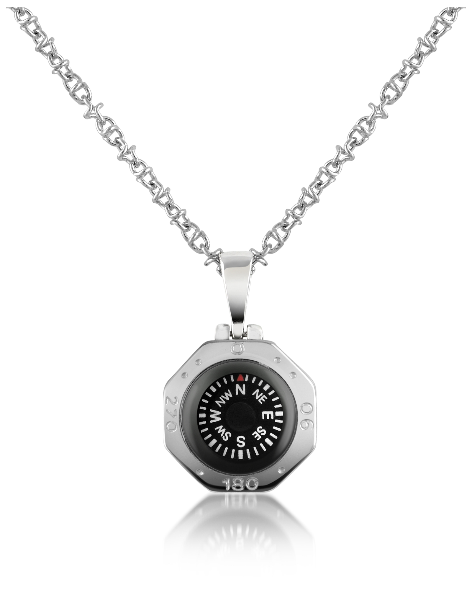 lyst forzieri stainless steel compass pendant necklace. Black Bedroom Furniture Sets. Home Design Ideas
