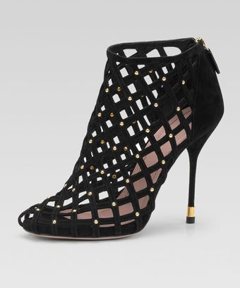 Gucci Studded Lattice Ankle Bootie - Lyst