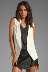 Haute Hippie Long Blazer Vest in Cream - Lyst