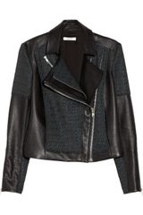 Helmut Lang Leather and Jacquard Jacket - Lyst