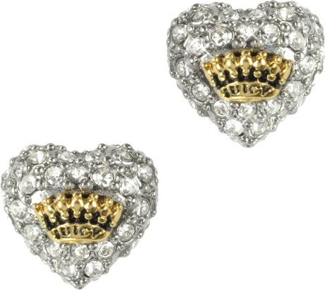 juicy couture pave heart stud earrings in white gold lyst. Black Bedroom Furniture Sets. Home Design Ideas