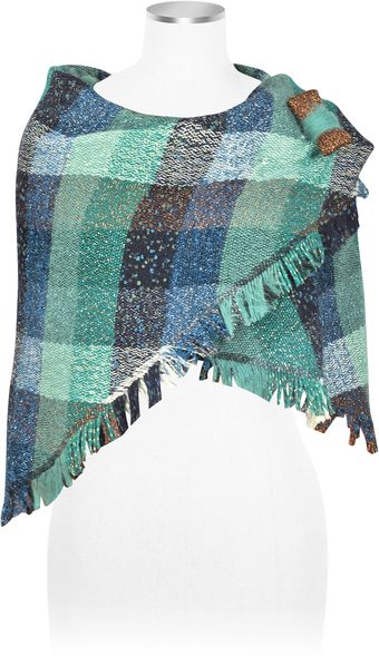 Julia Cocco' Ibisco Fringed Metallic Sparkle Shawl with Bow Pin - Lyst