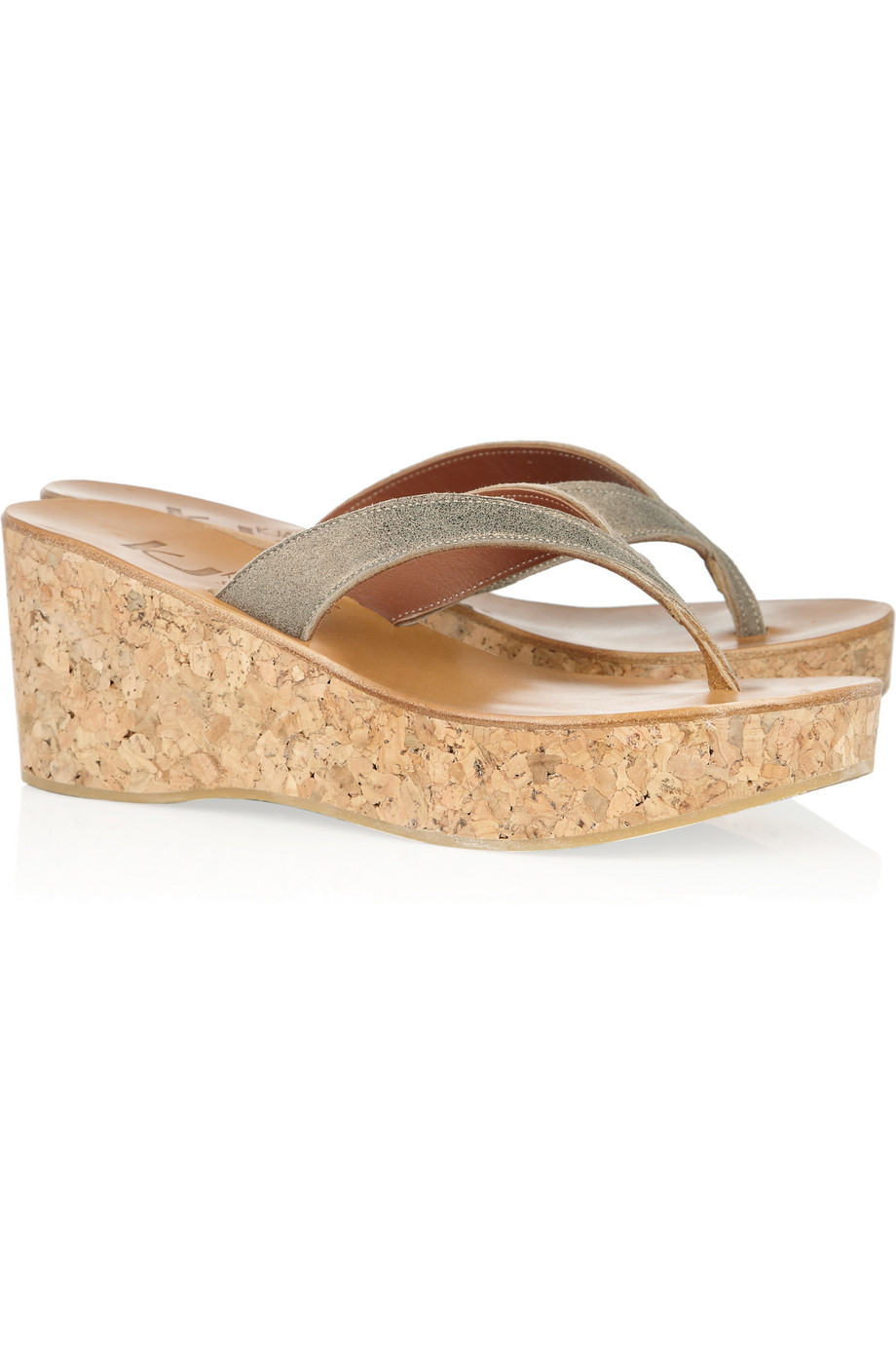 7fbcbeb24950 Lyst - K. Jacques Diorite Leather and Cork Wedge Sandals in Metallic