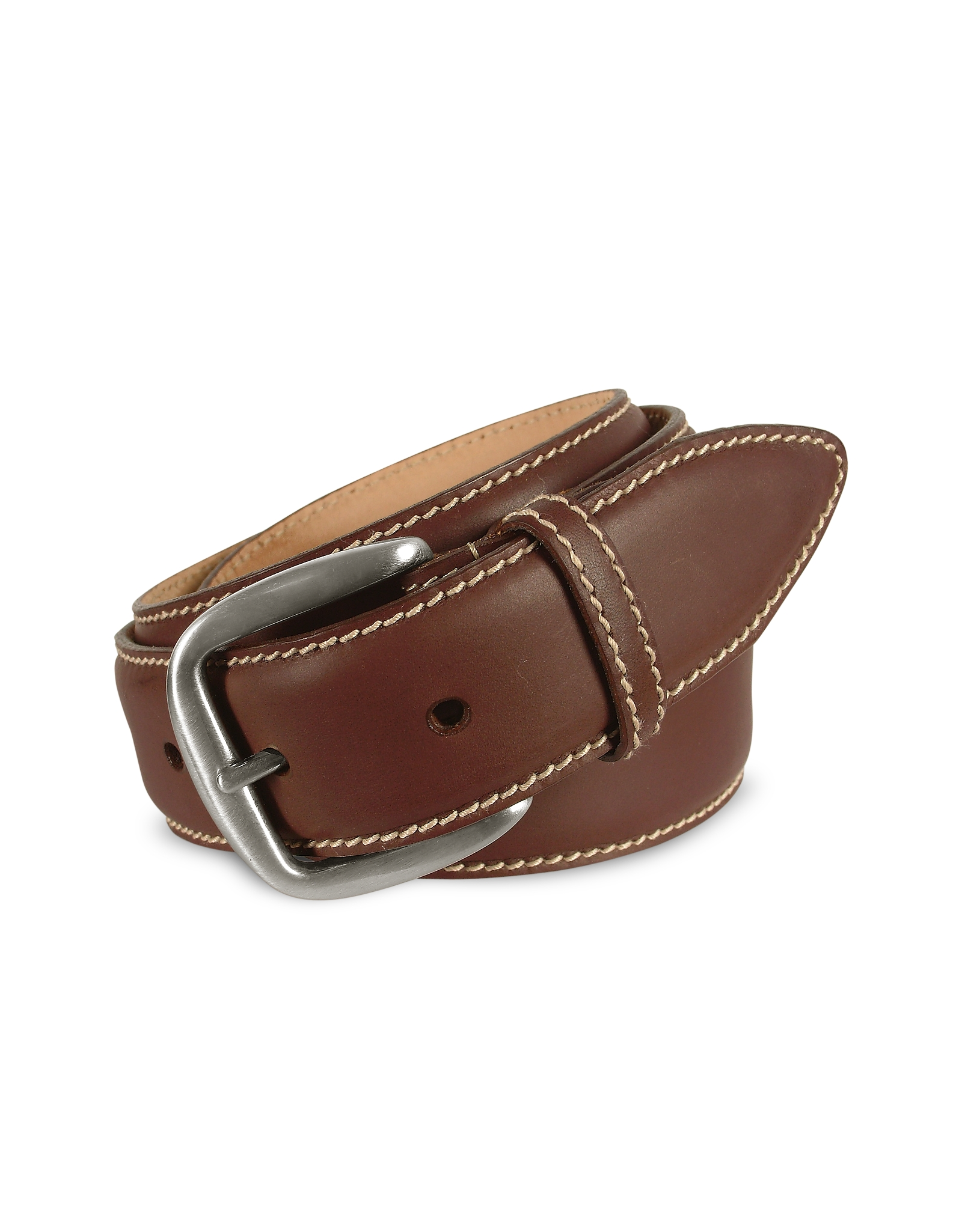 manieri s brown smooth leather belt in brown for